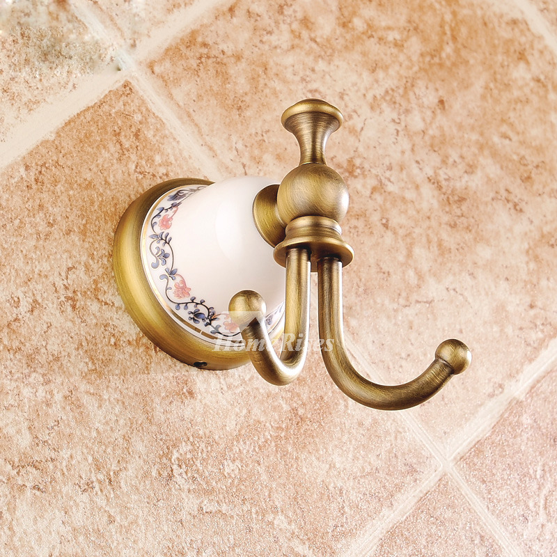 Double Robe Hook Antique Brass Ceramic Bathroom Wall