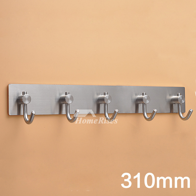 Stainless Steel Bathroom Hooks No Drill Silver Brushed