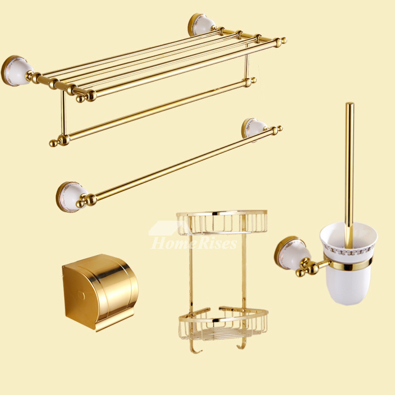 Good polished brass luxury bathroom accessories set ceramic for Good bathroom accessories