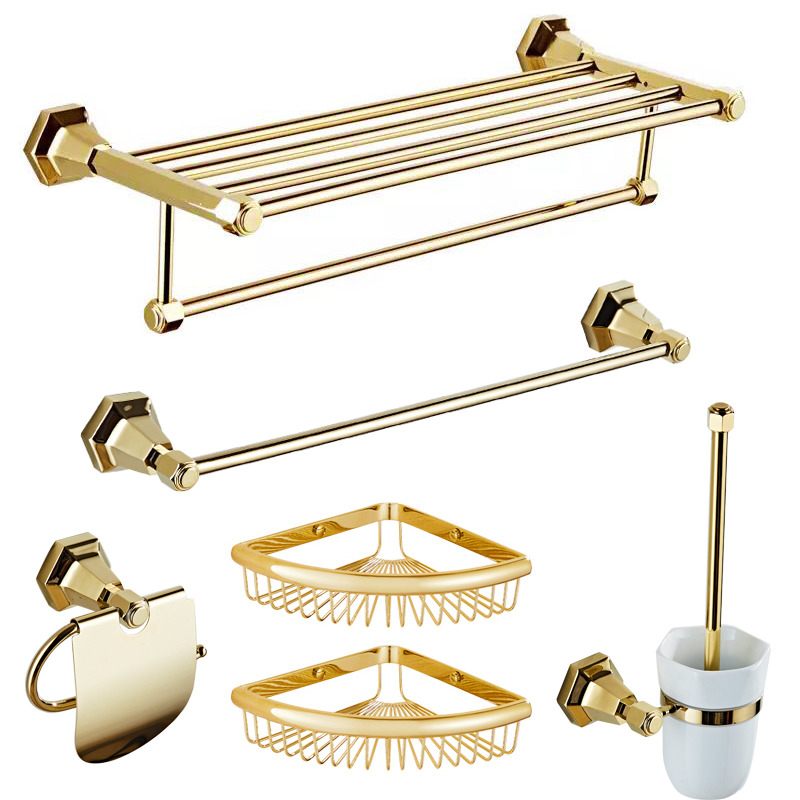 Solid Polished Brass Bathroom Accessories Set Gold