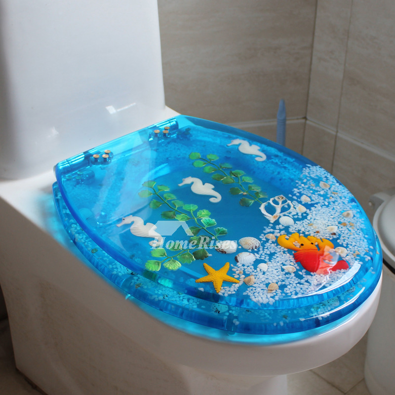 Decorative Blue Toilet Seat Resin Upmount Oval Shaped Cushion