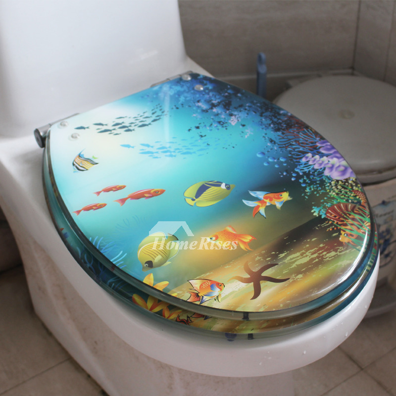 Black Marble Resin Toilet Seat Slow Close Oval Decorative Comfortable Unique Blue Fish Dolphin