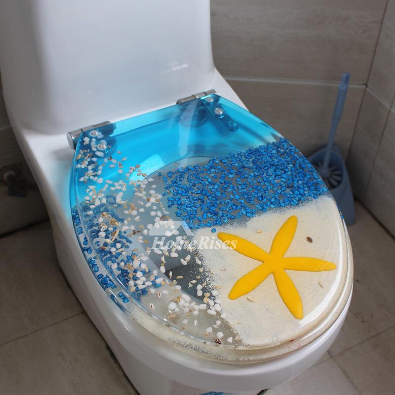 White Marble Soft Close Resin Toilet