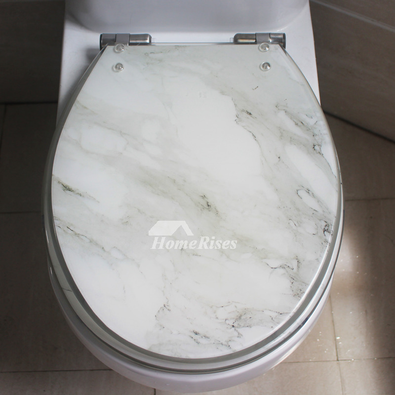 White Marble Soft Close Resin Toilet Seat Oval Decorative