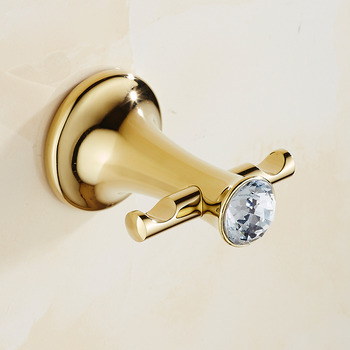 Solid Gold Robe Hook Polished Brass No Drill/Wall Mount