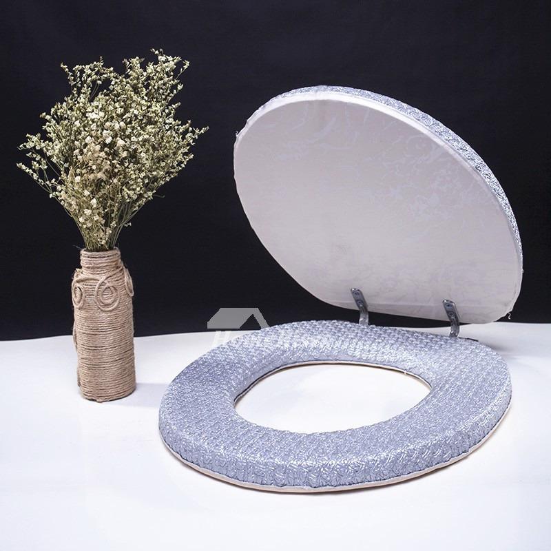 Simple Gray Toilet Seat Purple Blue Leather Bathroom