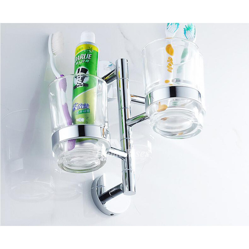 Clear Glass Toothbrush Holder Brass Chrome Swing Arm