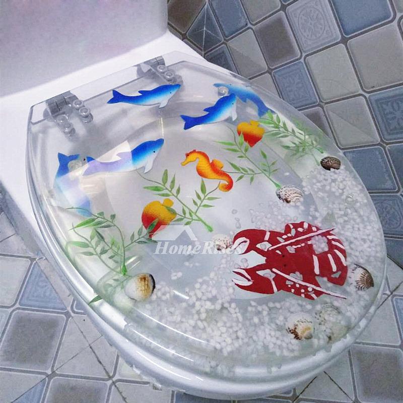 Seashell Toilet Seat O Type Resin Cushion Purple Bathroom
