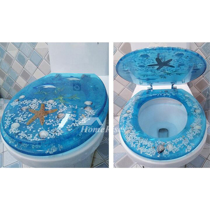 Tremendous Blue Elongated Toilet Seat Seashell Resin Cushion Bathroom Theyellowbook Wood Chair Design Ideas Theyellowbookinfo