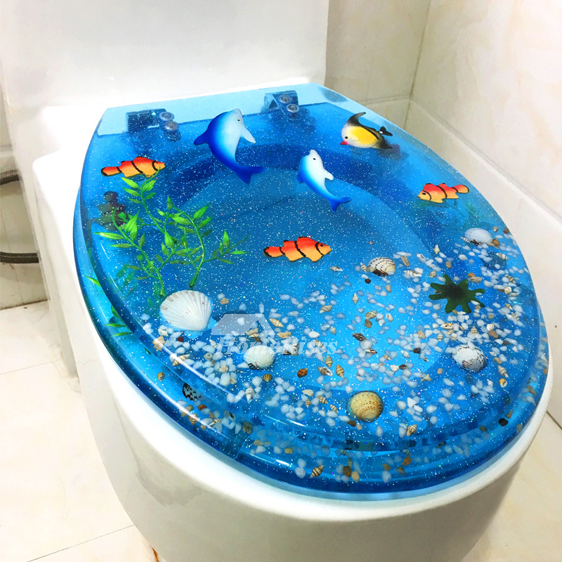 Seashell Toilet Seat Resin O Type Bathroom Blue