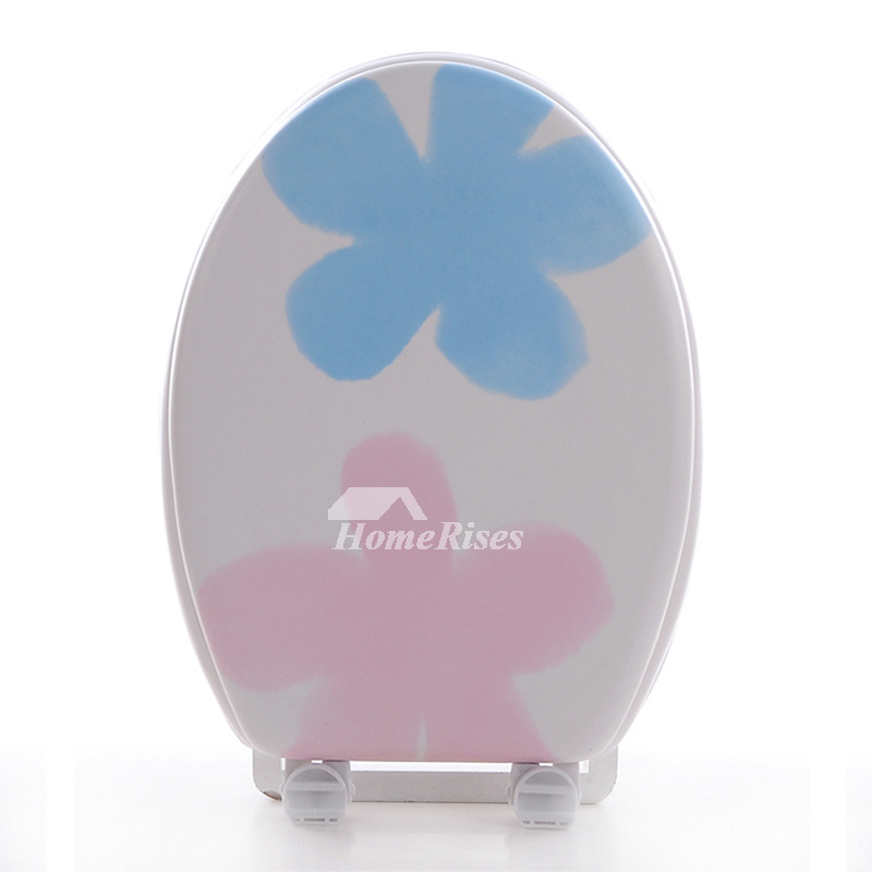 Soft Elongated Toilet Seat Eva Blue And Pink V Type Bathroom