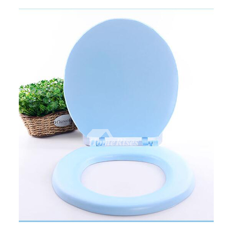 Soft Elongated Toilet Seat Eva Blue And Pink V Type Bathroom