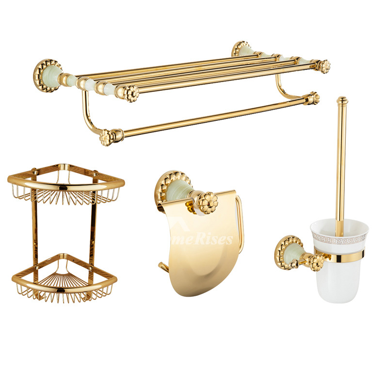 Solid polished brass bathroom accessories set gold wall mount - Solid brass bathroom accessories ...