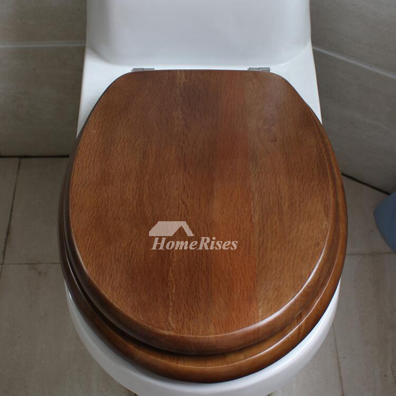 Wooden Toilet Seats Brown O Type Cushion Bathroom