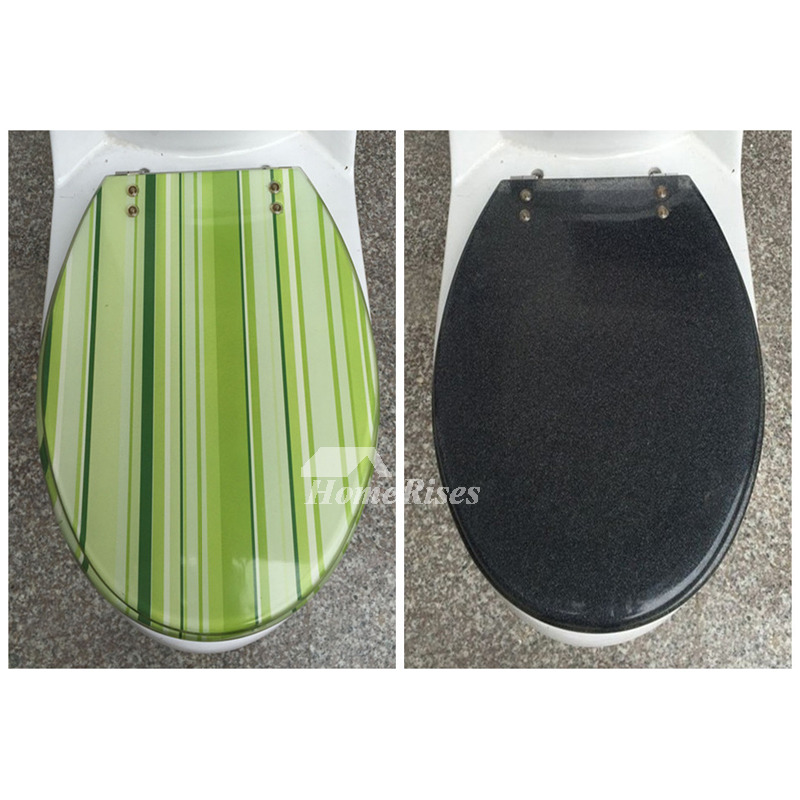 Striped Green Gray Yellow Colored Resin Toilet Seat Covers