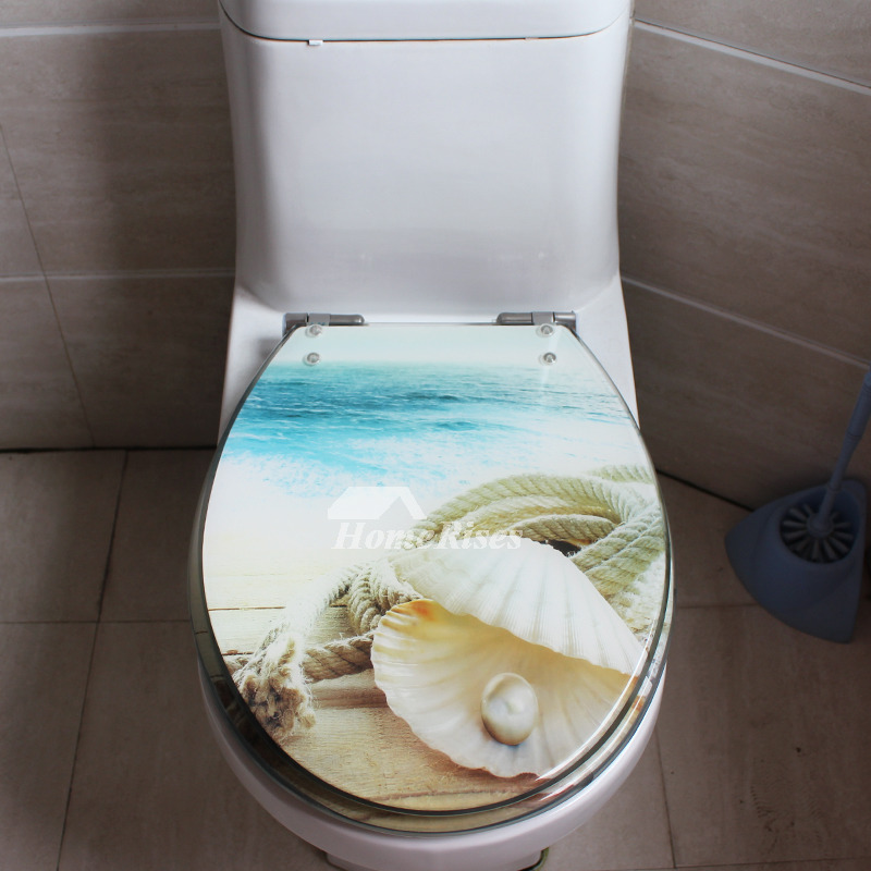 3d Beach Seashell Decorative Toilet Seat Resin Elongated