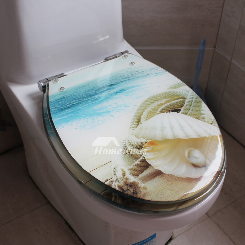 Seashell Toilet Seat Blue O Type Cushion Resin Colored