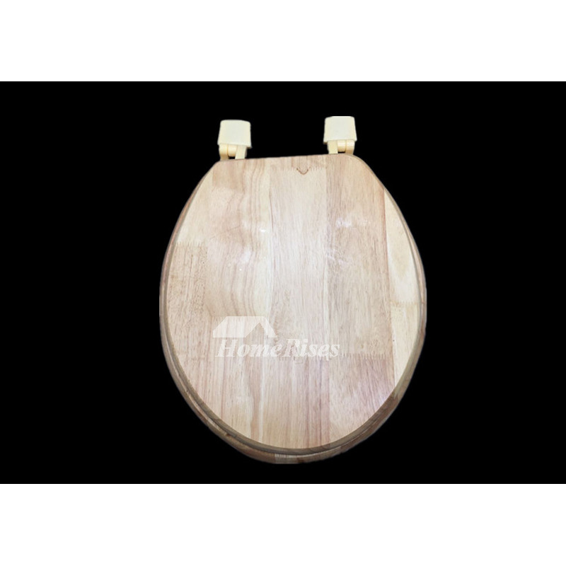 Elongated Wood Toilet Seat Undermount Natural Bathroom