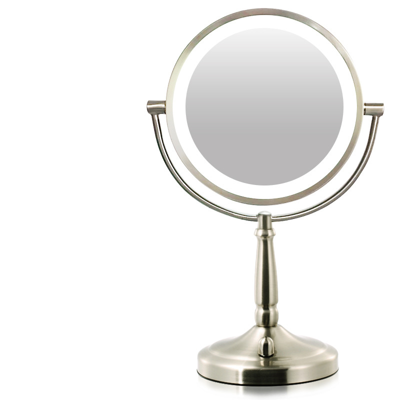 Double Sided Makeup Mirror With Lights 5x Metal