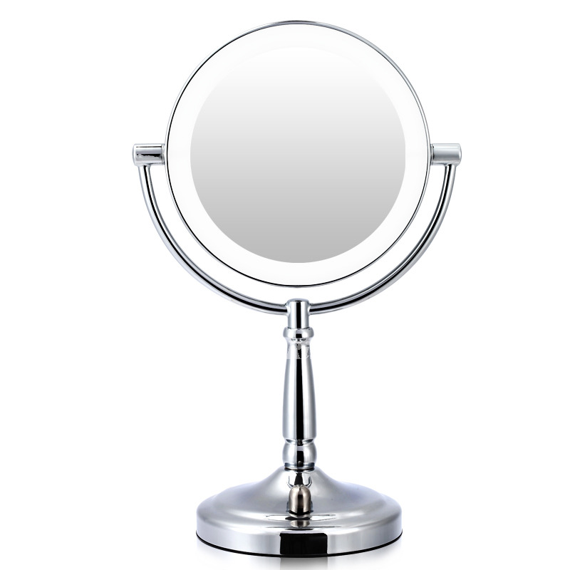 Silver Chrome Lighted Makeup Mirror 3x Bathroom Round Shaped