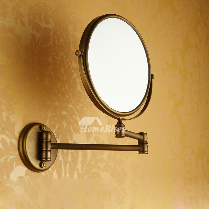 Bathroom Makeup Mirrors: Adjustable Wall Mounted Makeup Mirror Brushed Brass