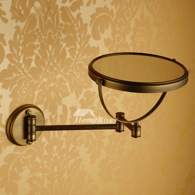 Adjustable Wall Mounted Makeup Mirror Brushed Brass