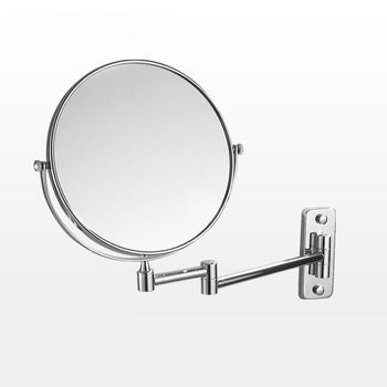 Double Sided 8 Inch Folding Magnifying Makeup Mirror No Drill 3X
