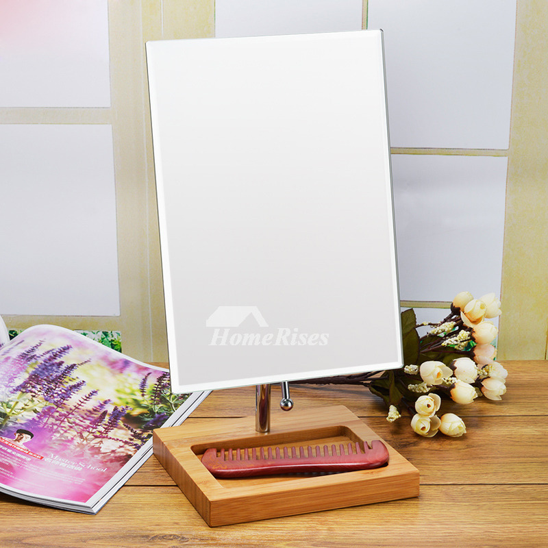 Vanity Makeup Mirror Free Standing Bamboo Square Round