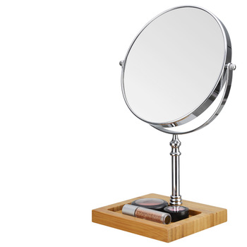 vanity mirror on stand. Vanity Makeup Mirror Free Standing Bamboo Square Round Stand With Modern Magnifying 3X White Pink