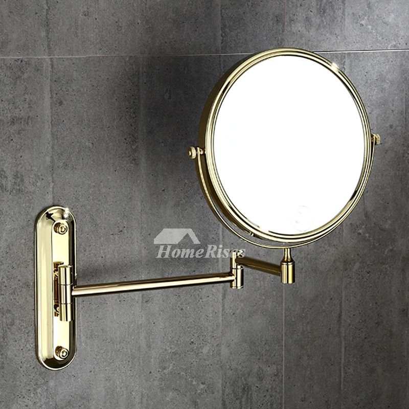 Beau 8 Inch No Drill Gold Makeup Mirror Bathroom Brass