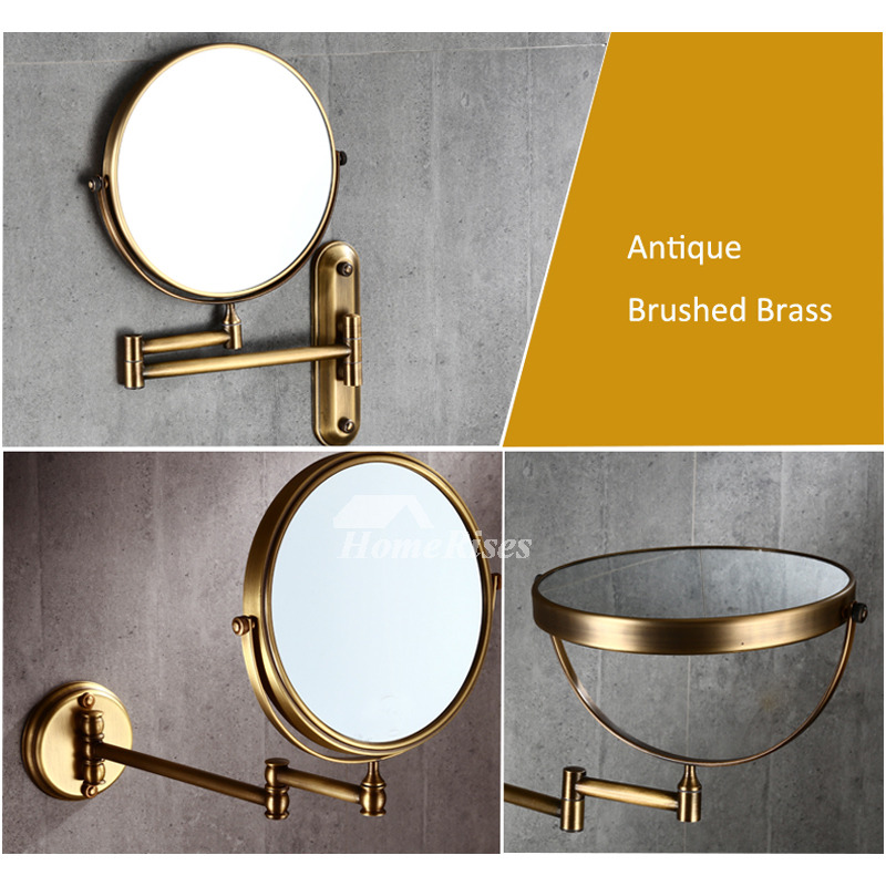 8 Inch No Drill Gold Makeup Mirror Bathroom Brass