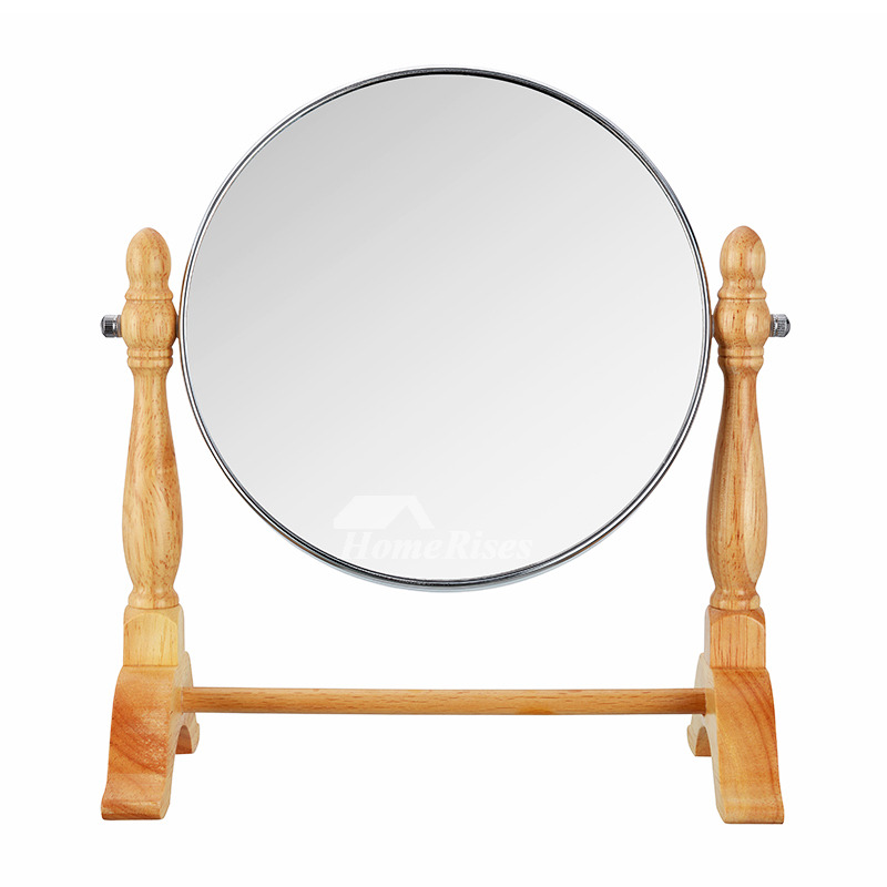 Stand Up Makeup Mirror Wood Square/Round Double Sided