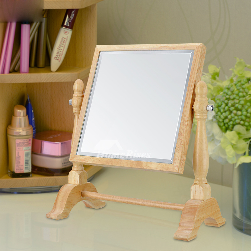 Stand Up Makeup Mirror Wood Square Round Double Sided