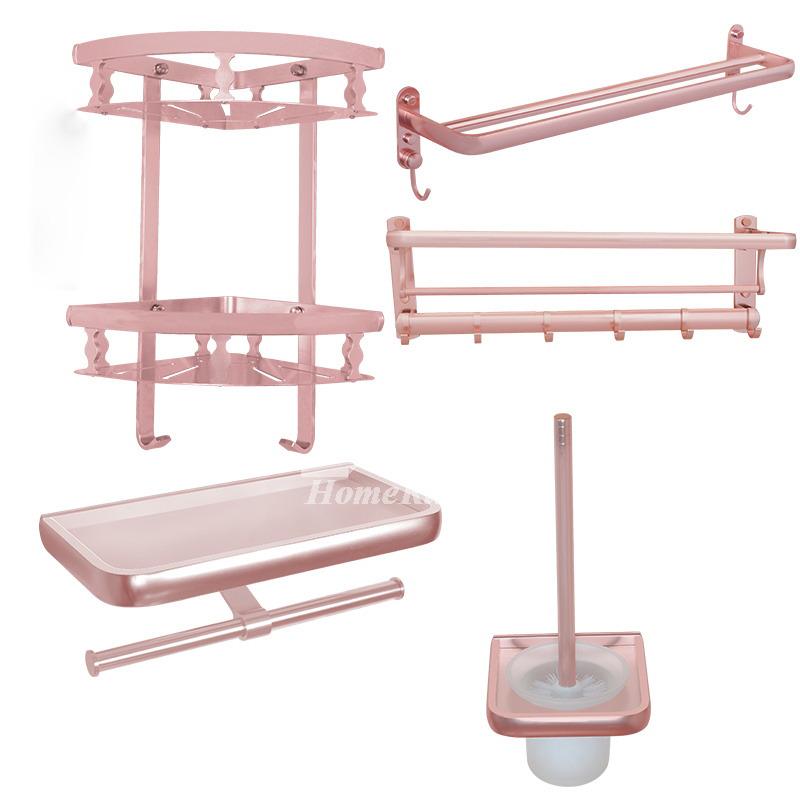 Unique pink bathroom accessories sets aluminum wall mount for Unique bathroom accessories sets