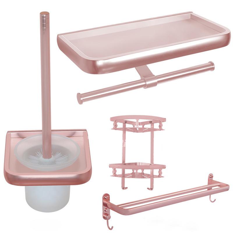 interesting pink bathroom accessories sets | Unique Pink Bathroom Accessories Sets Aluminum Wall Mount