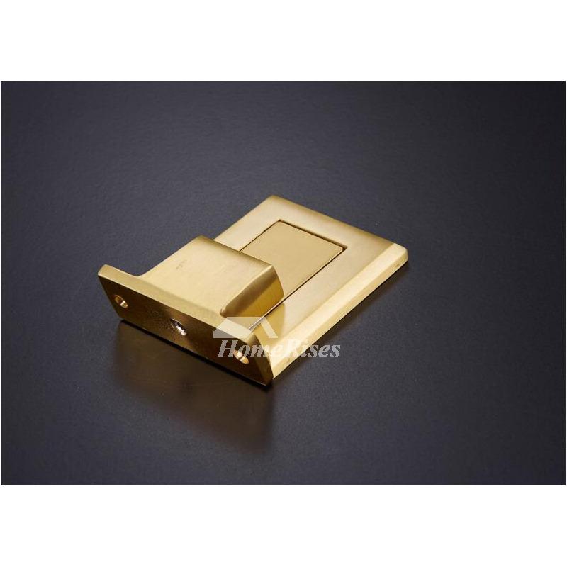 Hidden Polished Brass No Drill Gold Bullion Door Stop Black
