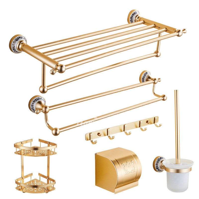Gold bath accessories wall mount polished brass aluminum glass for Gold glass bathroom accessories