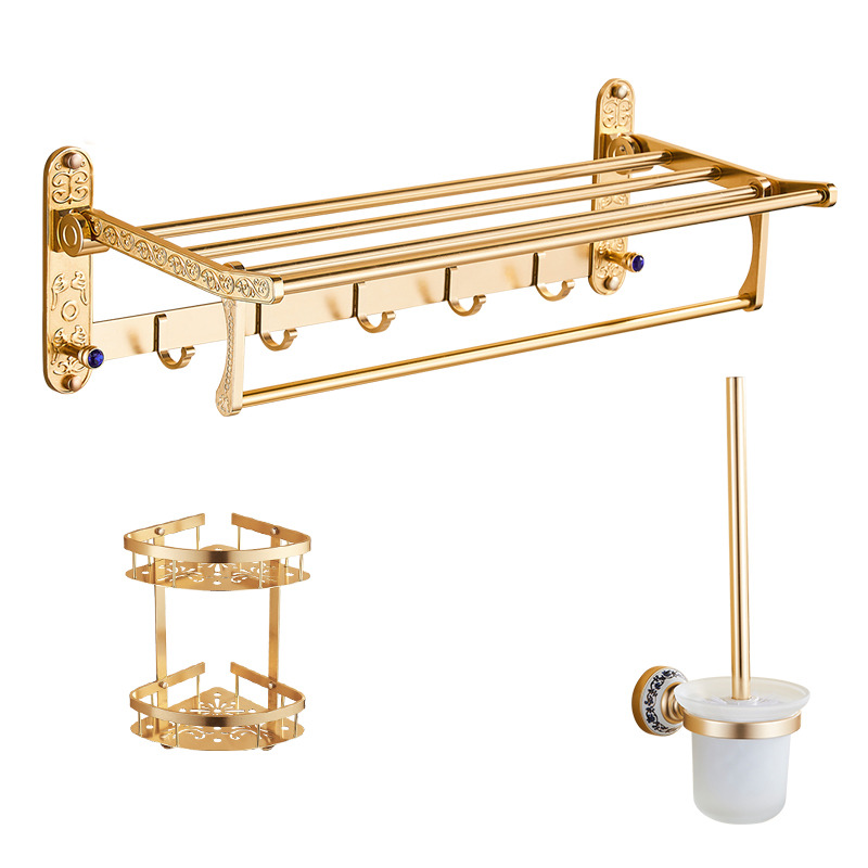 Luxury carved gold bathroom accessories sets aluminum for Gold bathroom accessories sets