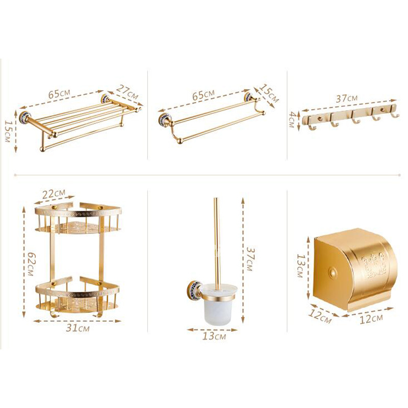 Luxury carved gold bathroom accessories sets aluminum for Glass bathroom accessories sets