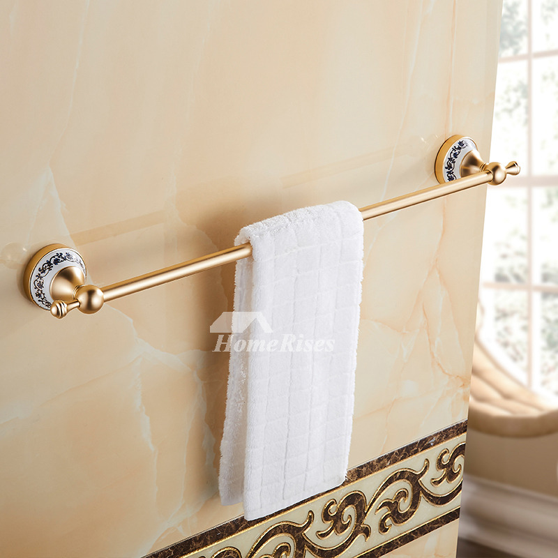 Luxury Carved Gold Bathroom Accessories Sets Aluminum Glass Wall Mount