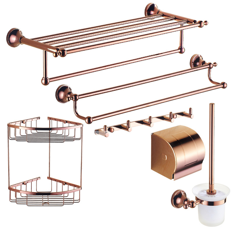 Brown Bathroom Accessories Sets Rose Gold Brass Wall Mount Glass