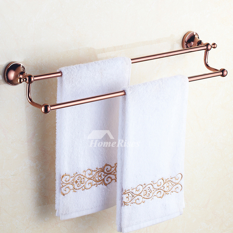 Brown bathroom accessories sets rose gold brass wall mount for Brown and gold bathroom sets