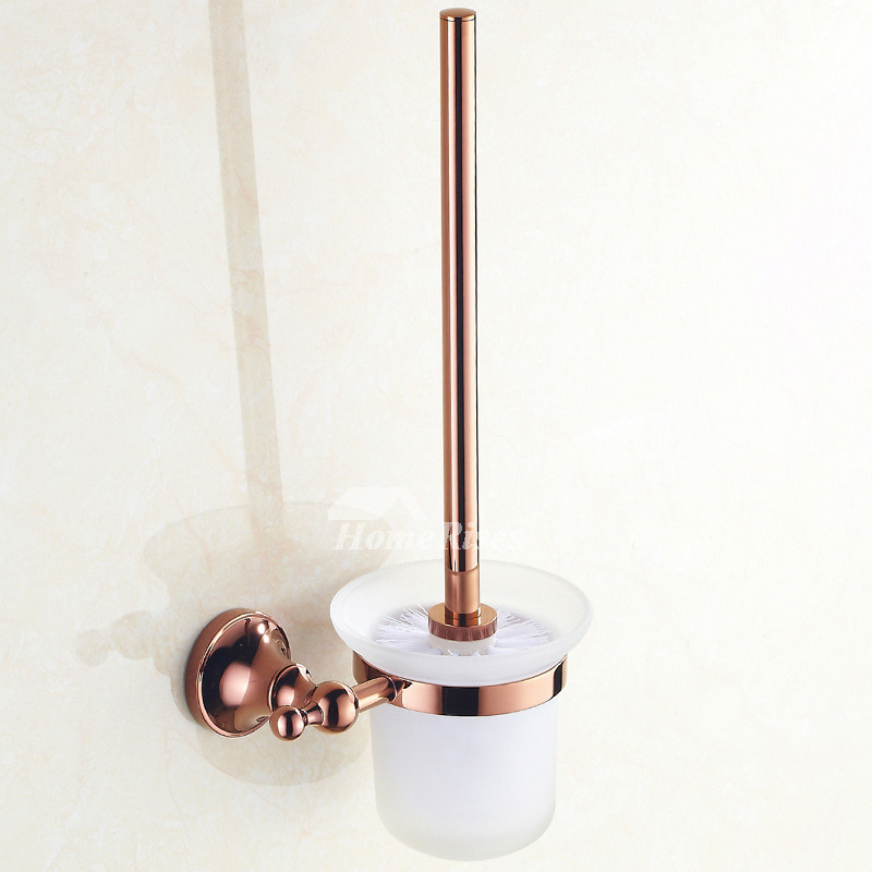 Brown Bathroom Accessories Sets Rose Gold Brass Wall Mount