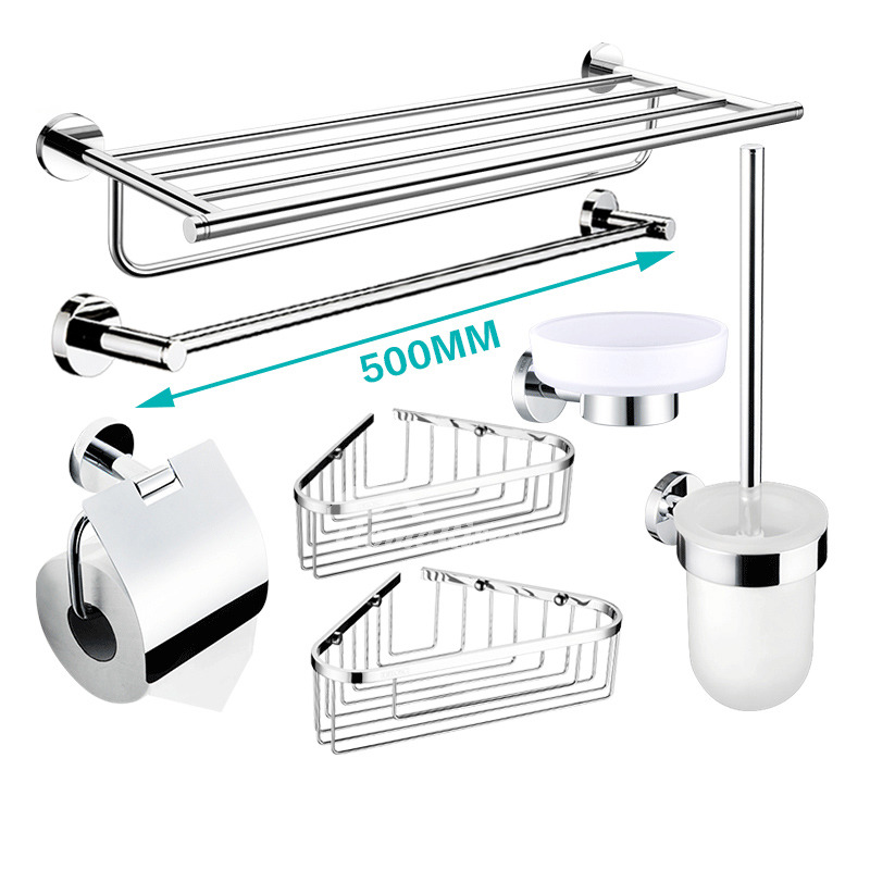 Silver bathroom accessories set wall mount chrome brass modern - Chrome and brass bathroom accessories ...