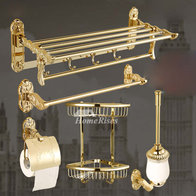 Polished Brass Bathroom Accessories Set Gold Carved Stainless Steel Luxury