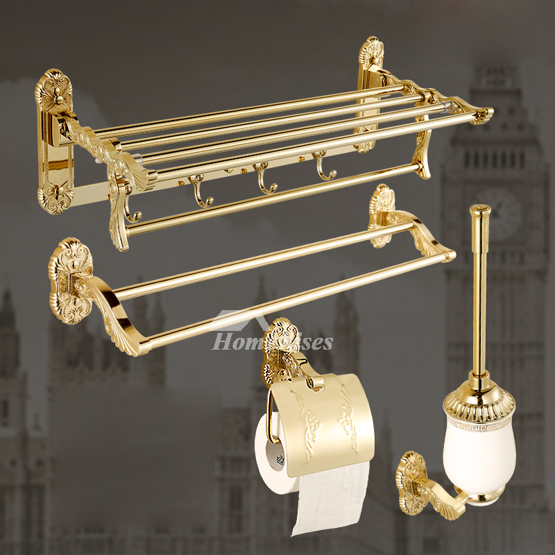 gold bathroom accessories sets carved polished brass stainless steel - Gold Bathroom Accessories