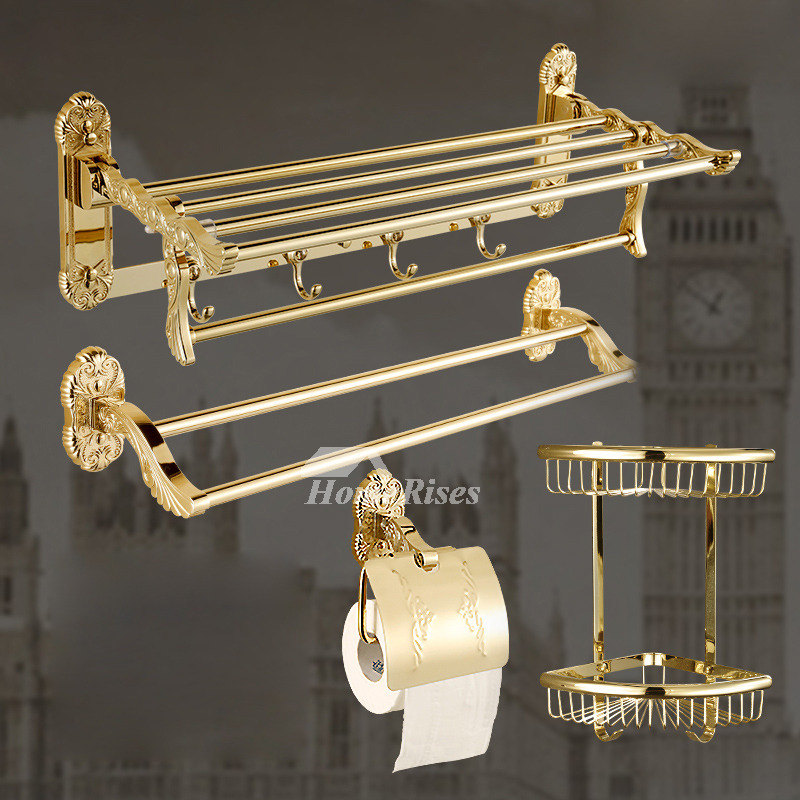 Gold Bathroom Accessories Sets Carved Polished Brass