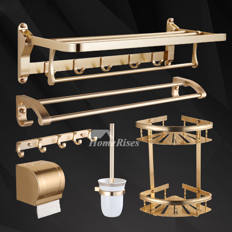Luxury Polished Brass Bathroom Accessories Sets 6-Piece Wall Mount