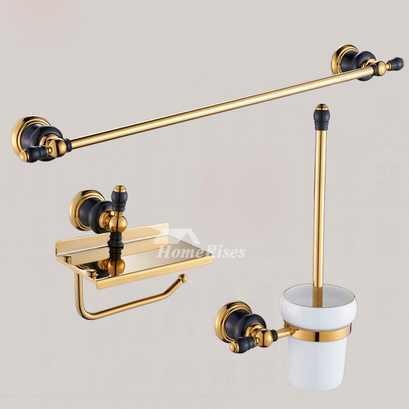 luxury black and gold bathroom accessories polished brass wall mount - Gold Bathroom Accessories