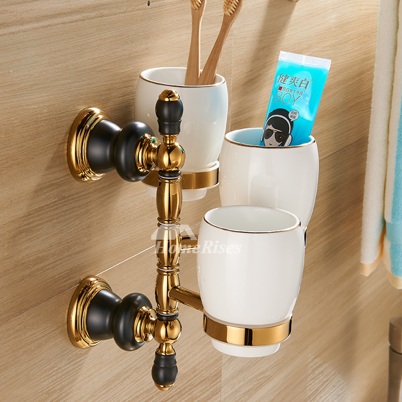Luxury Black And Gold Bathroom Accessories Polished Brass